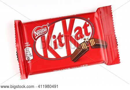 Lviv, Ukraine - April 27, 2020: Kit Kat Chocolate Wafer Bars In The Package White Background