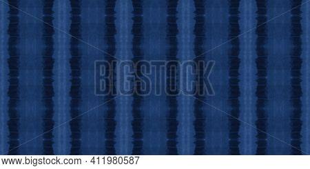 Indigo Tie Dye Pattern. Maritime Abstract Ethnic Background. Navy Paintbrush Surface. Sea Ethnic Orn