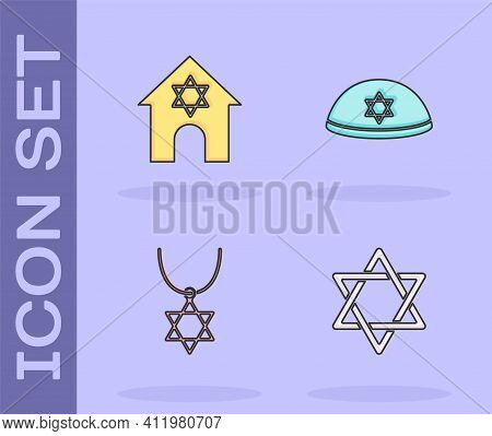 Set Star Of David, Jewish Synagogue, Necklace On Chain And Kippah Icon. Vector
