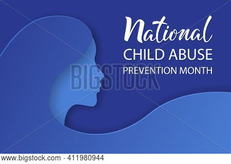 National Child Abuse Prevention Month. Stop Child Violence. Children Protection And Safety Month. Gi
