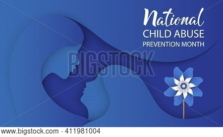 National Child Abuse Prevention Month. Girl And Mother Silhouette With Pinwheel On Blue Background.