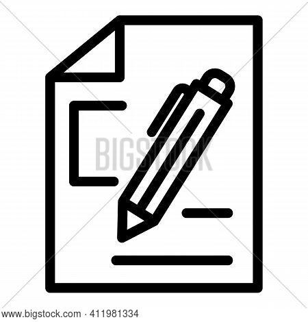 Writing Interface Icon. Outline Writing Interface Vector Icon For Web Design Isolated On White Backg