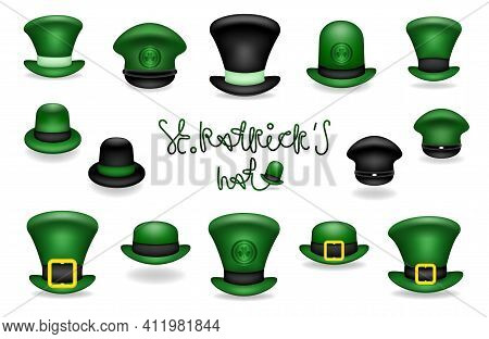 Collection Of Green And Black Hats. Caps Of Leprechaun Or Gnome. Set Of Hats For The Feast Of St. Pa
