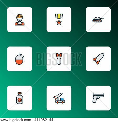 Army Icons Colored Line Set With Artillery, Soldier, Gun And Other Bomb Elements. Isolated Vector Il
