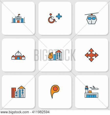 Public. Skyline Icons Colored Line Set With Location Pin, Crossroad, Cable Car And Other Parliament