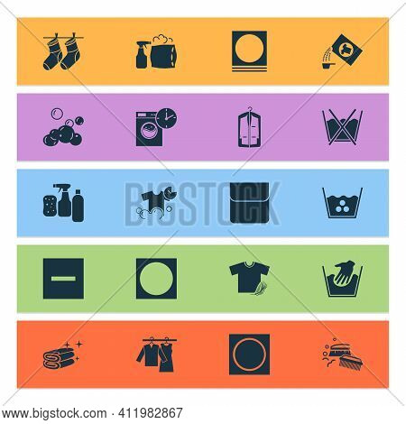 Laundry Icons Set With Do Not Wash, Cleaning Products, Pillow Cleaning And Other High Temperature El