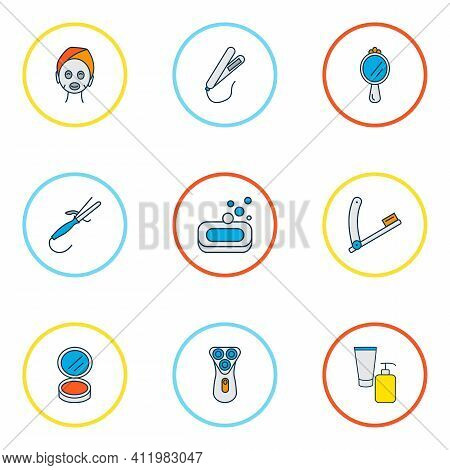 Hairdresser Icons Colored Line Set With Soap, Beauty Product, Styling Iron And Other Peeper Elements
