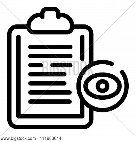 Optometry Clipboard Icon. Outline Optometry Clipboard Vector Icon For Web Design Isolated On White B