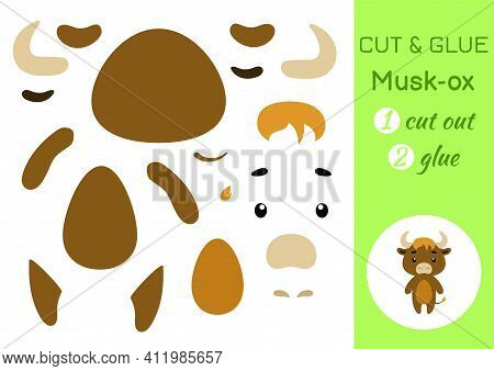 Cut And Glue Paper Little Musk-ox. Kids Crafts Activity Page. Educational Game For Preschool Childre