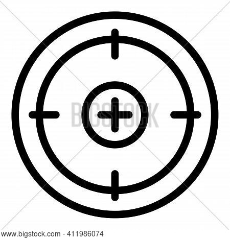 Optic Crosshair Sight Icon. Outline Optic Crosshair Sight Vector Icon For Web Design Isolated On Whi