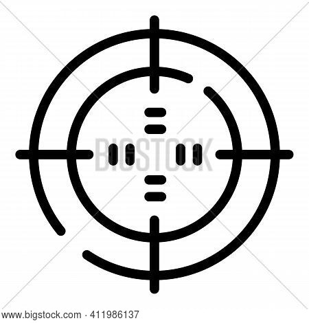 Optical Reticle Sight Icon. Outline Optical Reticle Sight Vector Icon For Web Design Isolated On Whi