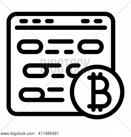 Blockchain Page Icon. Outline Blockchain Page Vector Icon For Web Design Isolated On White Backgroun