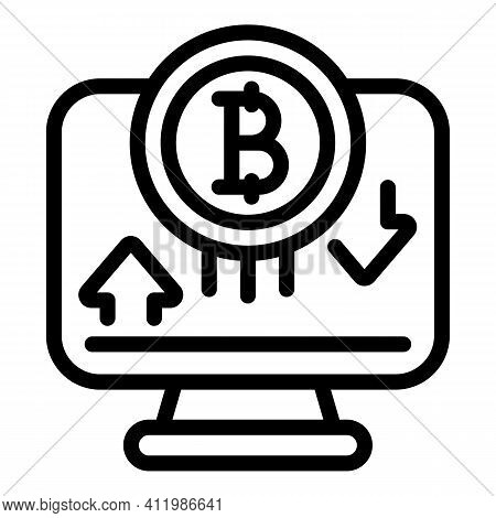 Blockchain Monitor Icon. Outline Blockchain Monitor Vector Icon For Web Design Isolated On White Bac