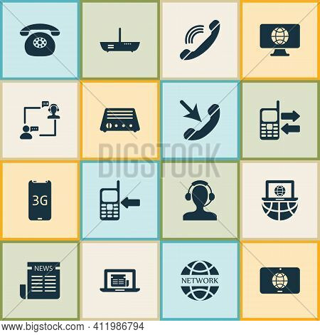 Telecommunication Icons Set With Network Communications, Operator With Customer, Mobile Data Exchang