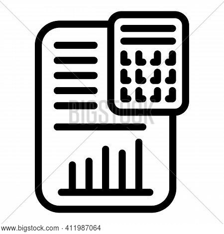 Blockchain Calculator Icon. Outline Blockchain Calculator Vector Icon For Web Design Isolated On Whi