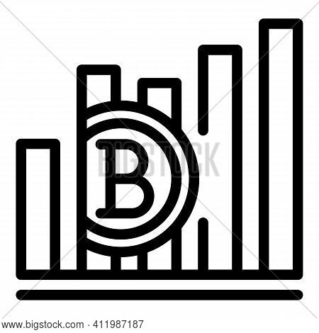 Blockchain Graph Chart Icon. Outline Blockchain Graph Chart Vector Icon For Web Design Isolated On W