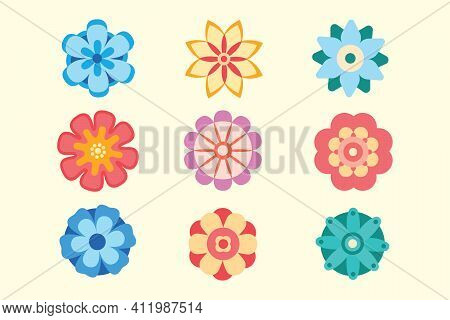 Set Of Vector Decorative Flower Icons In Flat Style. Spring Flowers Silhouette Collection. Floral Cl