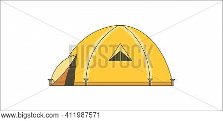 Hiking And Trekking Camp Tent For Rest. Vector Illustration In Cartoon Style.