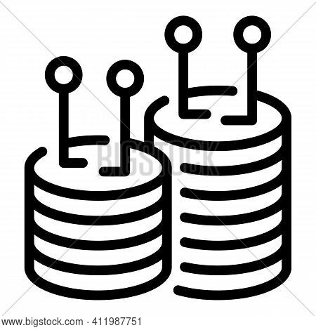 Blockchain Server Rack Icon. Outline Blockchain Server Rack Vector Icon For Web Design Isolated On W