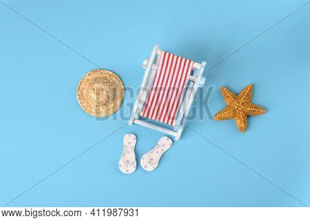Concept Photo About Nice Vacation At The Sea, Top View.