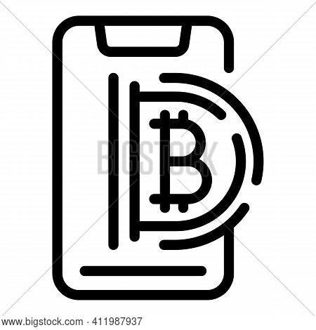 Blockchain Smartphone Icon. Outline Blockchain Smartphone Vector Icon For Web Design Isolated On Whi