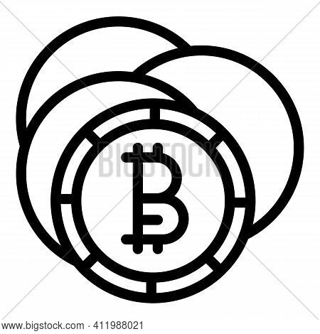 Blockchain Coins Icon. Outline Blockchain Coins Vector Icon For Web Design Isolated On White Backgro