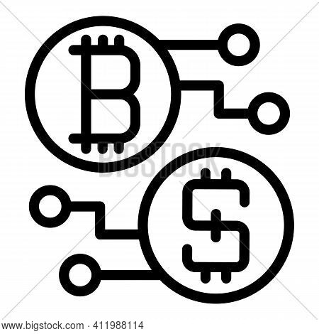 Blockchain Scheme Icon. Outline Blockchain Scheme Vector Icon For Web Design Isolated On White Backg