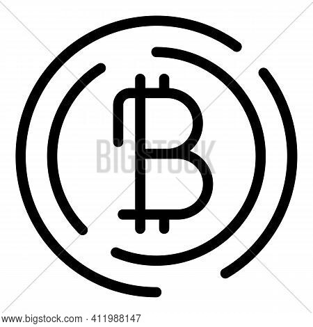 Blockchain Bitcoin Icon. Outline Blockchain Bitcoin Vector Icon For Web Design Isolated On White Bac