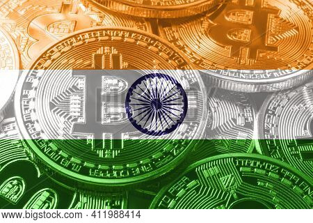 India Bitcoin Flag, National Flag Cryptocurrency Concept Black Background