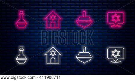 Set Line Jewish Synagogue, Hanukkah Dreidel, Wine Bottle And Star Of David. Glowing Neon Icon On Bri