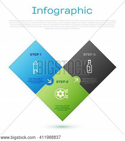Set Line Firework Rocket, Jewish Wine Bottle And Synagogue. Business Infographic Template. Vector