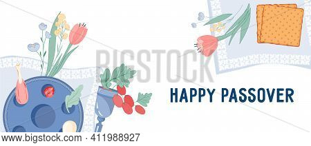 Jewish Passover Festive Website Banner Template With Items For Holiday Celebration. Pesach Or Passov