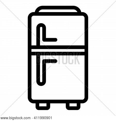 Kitchen Fridge Icon. Outline Kitchen Fridge Vector Icon For Web Design Isolated On White Background