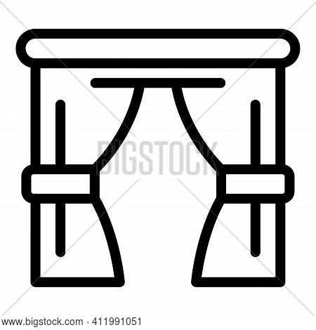 Kitchen Curtain Icon. Outline Kitchen Curtain Vector Icon For Web Design Isolated On White Backgroun