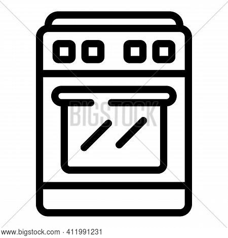 Gas Stove Icon. Outline Gas Stove Vector Icon For Web Design Isolated On White Background