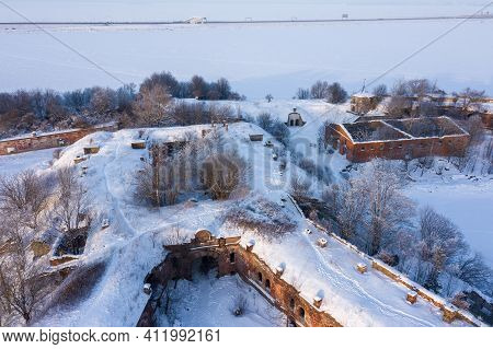 Panoramic Aerial View Of The Fourth Northern Fort Of The Zverev In Kronstadt. Island Of Forts. The G