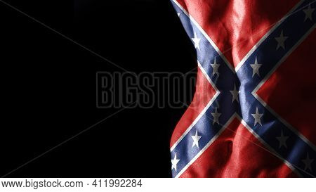 Confederate Flag On Abs Muscles National Sport Workout, Bodybuilding Concept, Black Background