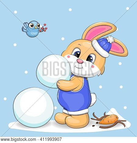 A Cute Cartoon Rabbit Makes A Snowman. Winter Vector Illustration On A Blue Background With Snow.