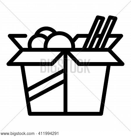 Asian Food Box Icon. Outline Asian Food Box Vector Icon For Web Design Isolated On White Background