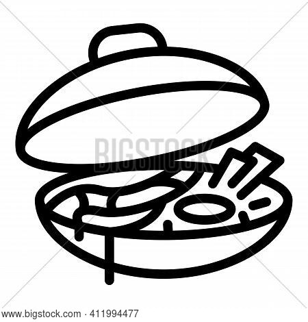Wok Menu Tray Icon. Outline Wok Menu Tray Vector Icon For Web Design Isolated On White Background