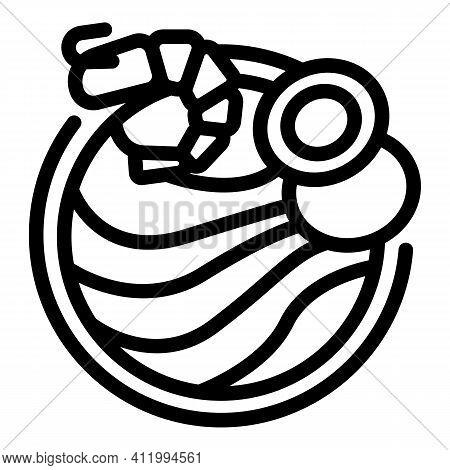 Wok Menu Shrimp Icon. Outline Wok Menu Shrimp Vector Icon For Web Design Isolated On White Backgroun