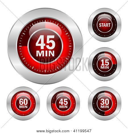 Timer vector icons set