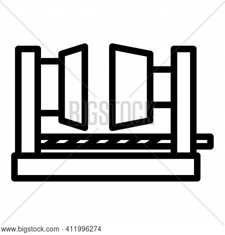 Factory Press Machine Icon. Outline Factory Press Machine Vector Icon For Web Design Isolated On Whi