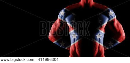 Confederate Flag On Muscled Male Torso With Abs, Black Background