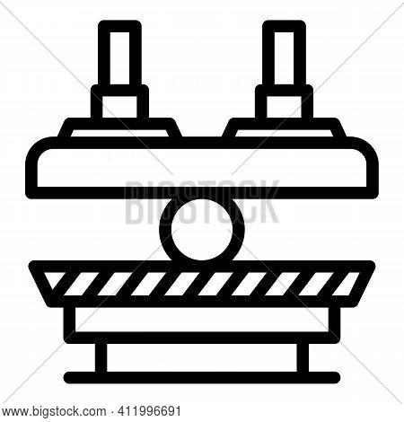 Press Machine Process Icon. Outline Press Machine Process Vector Icon For Web Design Isolated On Whi