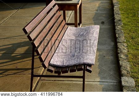 Wooden Bench With Foam Cushion, Seat Pad To Make The Bench Even More Comfortable. Fabric Washable Co
