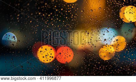 Drops On A Glass Beautiful Picture Lighting Colorful Lights Dew Drop Of Water On Transparent Glass A