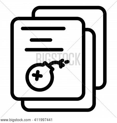 Malware Files Icon. Outline Malware Files Vector Icon For Web Design Isolated On White Background