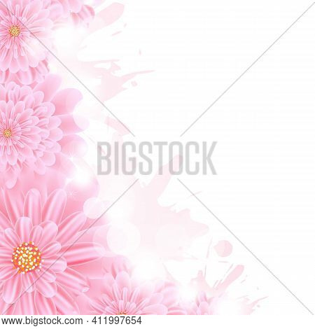 Pink Gerber And Paint Splash, Vector Illustration.