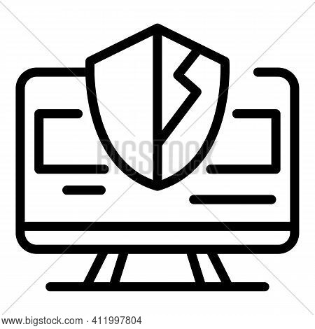 Computer Antivirus Icon. Outline Computer Antivirus Vector Icon For Web Design Isolated On White Bac